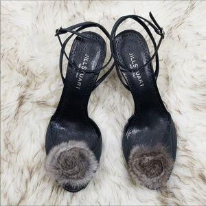 Jill Stuart furry Pom Pom Ankle strap heels sz 7